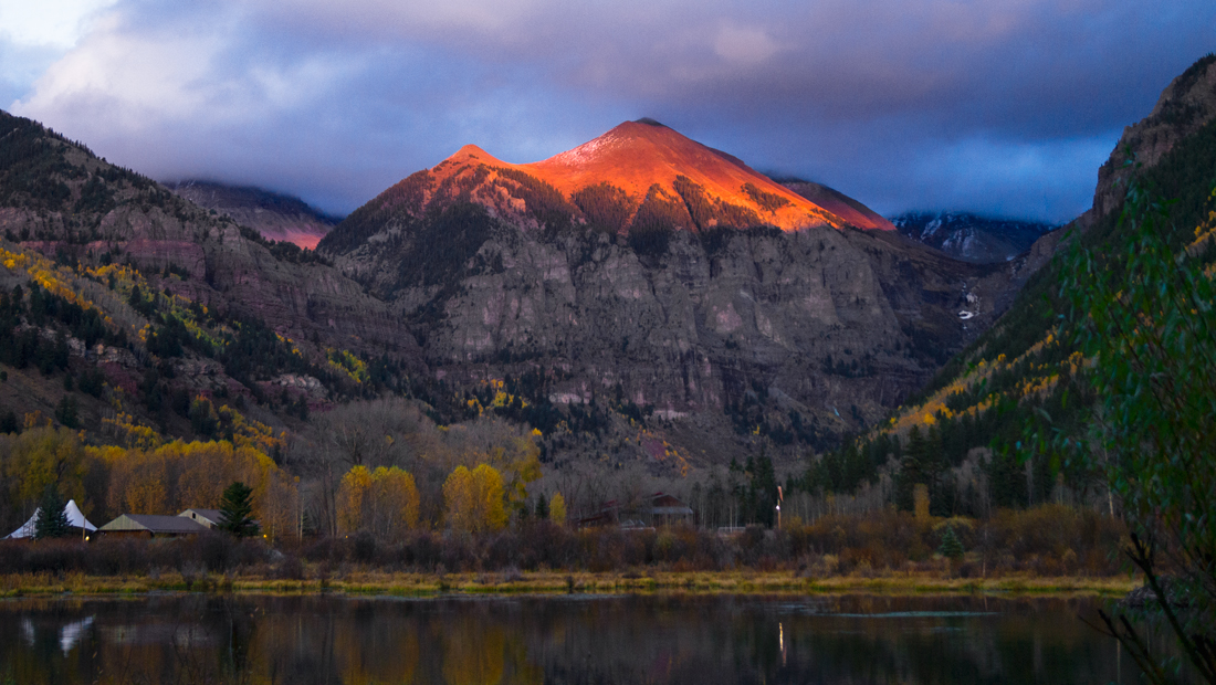 Ajax Mountain Final Sunset Telluride Colorado