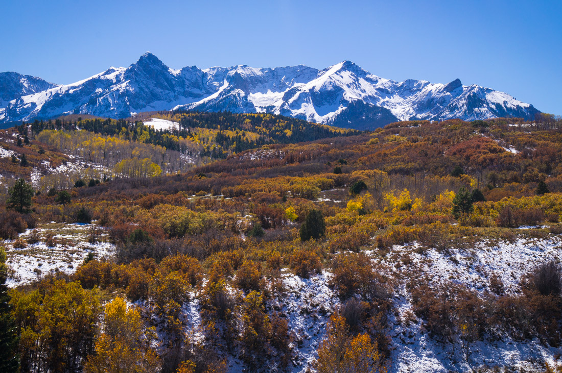Telluride's Snow Capped Peaks in the Fall