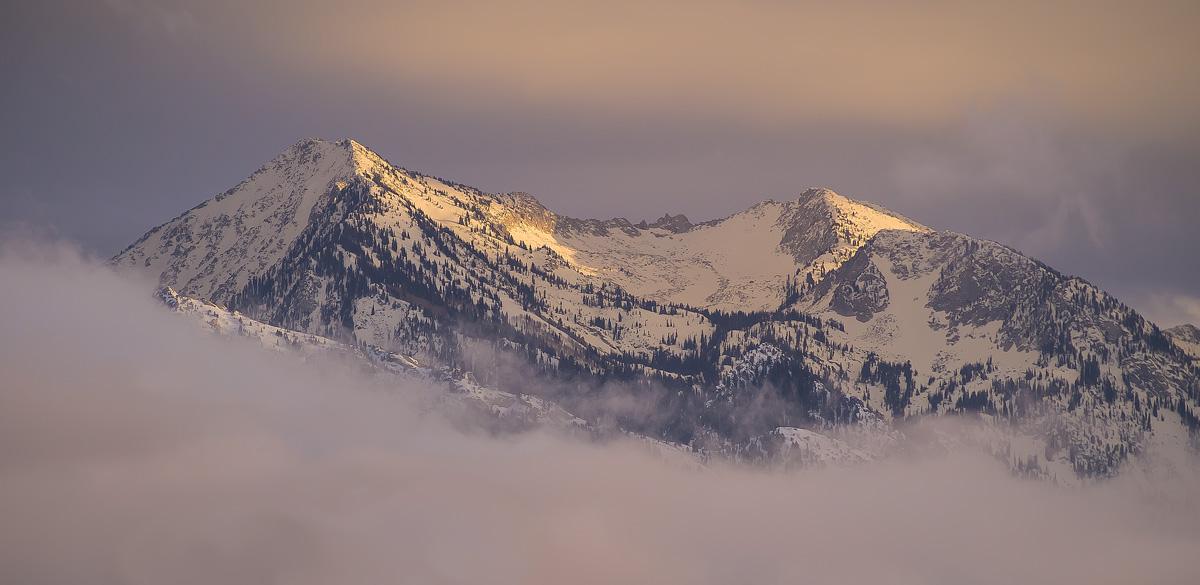 Wasatch Mountain Sunset Snow Storm Utah